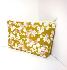 Medium Zipper Pouch  Gold Floral Japanese by handjstarcreations, $11.00