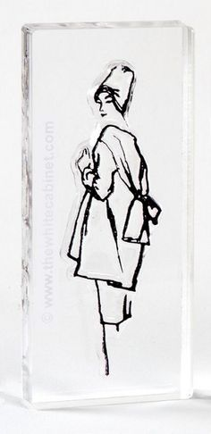 """Audrey Stamp from Vintage Illustration by Hilda Glasgow. Acrylic stamp on 1.75""""x3.5"""" clear block. $10"""