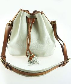 251446007e Dooney   Bourke Vintage 1980s Cream   Brown Leather Drawstring Bucket  Handbag