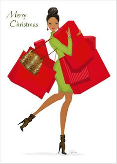 Shopping Season Holiday Card - this fashion art illustration of an African American or multicultural fashionista getting her holiday shopping on in festive red and green colors includes an inspirational message