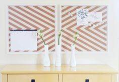 DIY: Ikea Frames to Chevron Cork Board (painters tape + white spray paint) Diy Cork Board, Painting Corkboard, Do It Yourself Inspiration, Diy Holz, Cork Crafts, Craft Organization, Organizing Papers, Diy Craft Projects, Desks