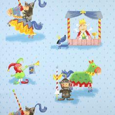 Cavaleiro 1 - azul claro - Decoração para crianças - Tecidos para meninos - tecidos.com.pt