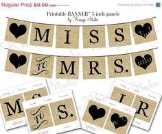 SALE Miss to Mrs. Banner BURLAP PRINTABLE Instant by KarsynStudio, $5.00
