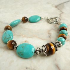 Turquoise and Tiger Eye Gemstone Bracelet Bali by mamisgemstudio, $69.95