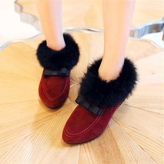 Qiu dong season European cotton gourd ladle shoes flat 2014 female money  sweet doug maomao shoes pointed add wool single women on EdithJewelry.com 5ae1a3ee58df