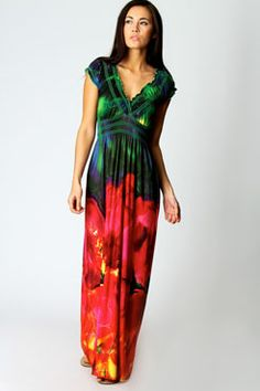 Abi Flower Printed Maxi Dress