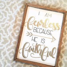 I am fearless because He is faithful sign, He keeps His promises, Christian sign, Christian gift, gifts for Christians, Teen girl room decor by FearfullyMadeCo on Etsy https://www.etsy.com/listing/513736333/i-am-fearless-because-he-is-faithful
