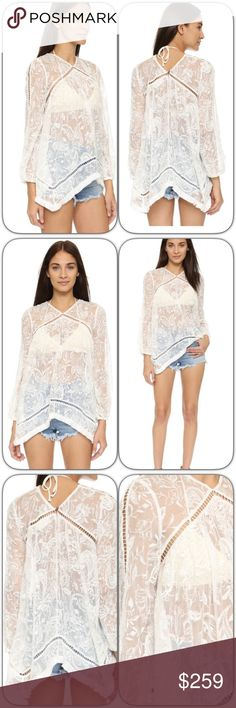Zimmermann Henna Floating Fringe Top This top is over the top stunning! A bit boho and oh so chic. It is even more gorgeous in person! Looks fab with shorts or jeans! A voluminous Zimmermann top with elaborate embroidery and lattice trim. Fringe accents the hem. Long sleeves and gathered elastic cuffs. Button back keyhole. Sheer.  Fabric: Silk chiffon. Shell: 100% silk. Trim: 100% cotton. Hand wash. Imported, China.  Measurements Length: 26in / 66cm, from shoulder to shortest point…