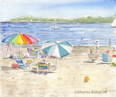 Summer Day at West Beach-beach umbrellas ocean watercolor painting  painting by artist Johanna Bohoy  135.00