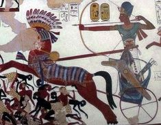 Detail from the Battle of Nubia, showing Ramesses II on his chariot Ancient Egyptian Paintings, Ancient Egyptian Religion, Symbolic Representation, Book Of The Dead, Egyptian Pharaohs, African Artists, Tutankhamun, Deities, Art World