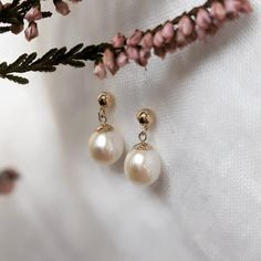 Pearl Drop Earrings, Pearl Jewelry, Gold Earrings, June Birth Stone, Beaded Rings, Carat Gold, Gold Pearl, Gold Bands, Beautiful Earrings