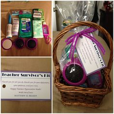 """My very first actual DIY pin! This is what I did for my son's teachers (he has 10 of them!). At Target, I went to their dollar section: Pens, Clorox wipes, Facial tissue, """"stress release"""" Johnson's lotion, Blistex Chapstick, Purel hand sanitizer, mini altoids, mini lint roller, and a portable hairbrush-mirror set. From Michael's: baskets and ribbons. """"Teacher's Survival Kits"""" labels done on Word in my home computer, printed at the FedEx store in construction paper. And VOILA!!!"""