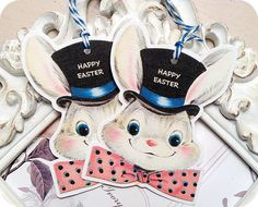 Retro Bunny Boy Happy Easter Tags  Set of by LittlePaperFarmhouse