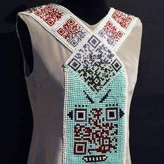 Icelandic popstar's dress has QR Codes on it #qr #fashion