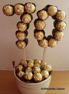 SelfMadeby Sabine: Ferrero Rocher birthday surprise – Birthday Presents 70th Birthday Presents, 70th Birthday Parties, Diy Birthday, Surprise Birthday, Birthday Cake, 70th Birthday Decorations, Ferrero Rocher Gift, Ferrero Rocher Bouquet, Chocolate Bouquet