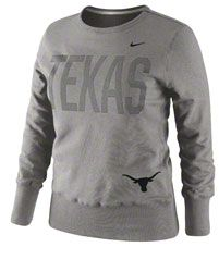 Texas Longhorns Women's Dark Heather Grey Nike Classic Crew Fleece Sweatshirt $54.99 http://www.fansedge.com/Texas-Longhorns-Womens-Dark-Heather-Grey-Nike-Classic-Crew-Fleece-Sweatshirt-_-215853166_PD.html?social=pinterest_pfid28-24812