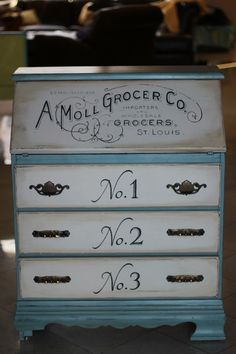 Vintage secretary/dresser painted using BB Frösch Chalk Paint Powder. Hand-painted typography courtesy of The Graphics Fairy.