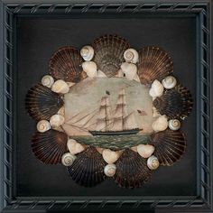 Seashell & Decoupage Shadowbox by Cynthia Rief Seashell & decopupage shadowbox with scene of American Ship and Nantucket Scallop Shells. Seashell Art, Seashell Crafts, Beach Crafts, Nautical Wall Decor, Nautical Art, Vintage Nautical, Seashell Shadow Boxes, Wall Decor Design, Shell Beach