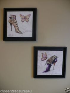 13 IN. SHOE WALL PLAQUES BUTTERFLIES 2 CANVAS FRAMED PRINTS WALL HOME purple