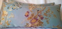 "Scalamandre 'MEISSEN' Gorgeous Italian Lampas Lumbar Pillow Scalamandre Pisanello Violet Silk Velvet Back, 12""x26"" by yorkshiredesigns on Etsy"