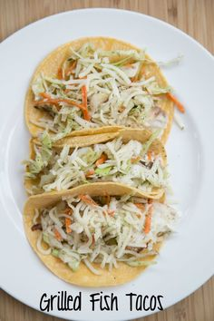 Grilled Fish Tacos & Slaw ~ NEW 31 Days of Grilling Recipes | 5DollarDinners.com