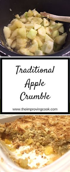 Traditional Apple Crumble- quick and easy traditional British dessert served with custard. Traditional Apple Crumble- quick and easy traditional British dessert served with custard. Apple Recipes, Gourmet Recipes, Baking Recipes, Dessert Recipes, Healthy Recipes, Hot Desserts, Pudding Recipes, Cake Recipes, British Desserts