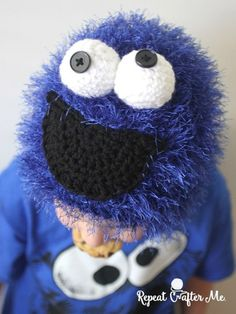 Crochet Cookie Monster Hat - Repeat Crafter Me