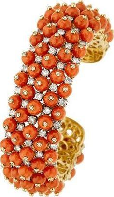 Coral & Diamonds Bracelet