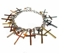 SALE Heavenly Stylish Chainlink Charm Bracelet w/Metallic Gold, Gunmetal, Silver, Bronze Multi Length Straight Cross Charms  FREE SHIPPING - Only $7.59 on Etsy!  https://www.etsy.com/listing/256491912/sale-heavenly-stylish-chainlink-charm