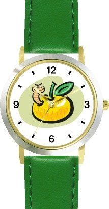 Worm in Yellow Apple Cartoon Insect - Animal - WATCHBUDDY® DELUXE TWO-TONE THEME WATCH - Arabic Numbers - Green Leather Strap-Size-Children's Size-Small ( Boy's Size & Girl's Size ) WatchBuddy. $49.95. Save 38% Off!