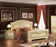 Aida Traditional Bed in Ivory in Gold by ESF