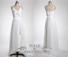 White v-neck high low slim straps simple beach wedding bridesmaid dress or simple wedding dress by TulleandChantilly, $121.00