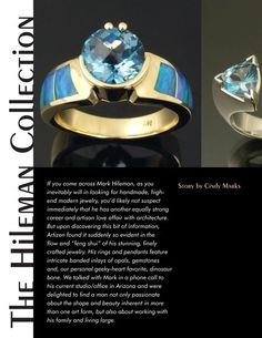 Some gorgeous Hileman jewelry and an Artizen Magazine article about Mark's background. Australian Opal Jewelry, Modern Jewelry, Artisan, Jewelry Design, Magazine, Handmade, Jewels, Rings, Hand Made
