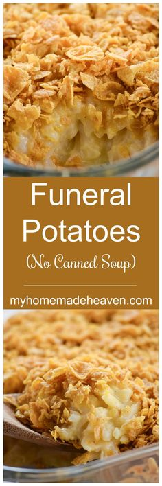Funeral Potatoes (No canned soup) - My Homemade Heaven Side Dish Recipes, Veggie Recipes, Cooking Recipes, Tuna Recipes, Dishes Recipes, Potato Recipes, Potato Dishes, Food Dishes, Side Dishes
