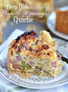 This Deep Dish Ham and Asparagus Quiche with caramelized onions is the perfect addition to your holiday brunch menu! Make it the day before to save time!