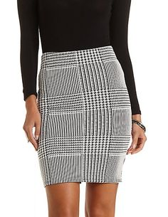 Houndstooth Bodycon Pencil Skirt  #charlotterusse #charlottelook