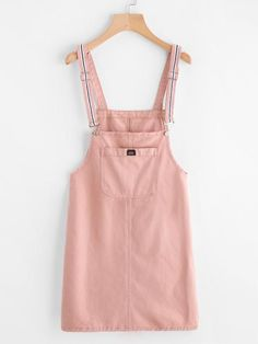 2a9ad9f6766 Pink Denim Pinafore Dress With Front Pocket