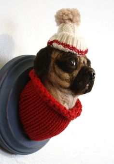Charles the Pug Needle Felted Taxidermy by LittleTeethMarks, $85.00