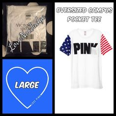 NWT VS PINK OVERSIZED Campus POCKET TEE NWT VS PINK OVERSIZED Campus POCKET TEE- new in package! Limited edition, I have all matching items! No trades- this one is more expensive than the others... Discount at 15% this week only!!! PINK Victoria's Secret Tops Tees - Short Sleeve