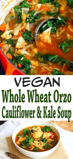 This comforting but light vegetable soup is packed with whole wheat orzo, cauliflower, kale and a whopping 9 grams of fiber per serving! 204 calories and 4 Weight Watchers SP | Vegan | Vegetarian | Pasta | Recipes | Easy | Dinner #vegansoups #veganrecipes #souprecipes #smartpoints #weightwatchers #cauliflowersoup