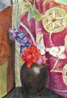 Vanessa Bell (1879-1961) Red and Blue Flowers in a Black Vase