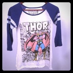 Thor Raglan Shirt Super Cute Thor shirt! Stretchy material, Only wore once but has been washed a couple of times Tops Tees - Long Sleeve