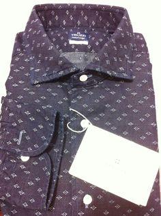NWT$475 TRUZZI Milano Hand Made luxury denim Fantastic Shirt, 41slim/40/M/50   #TRUZZI #ButtonFrontluxurycasual