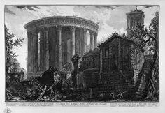 El circulo había sido utilizado también en los templos como el de Vesta, aquí dibujado por Piranesi