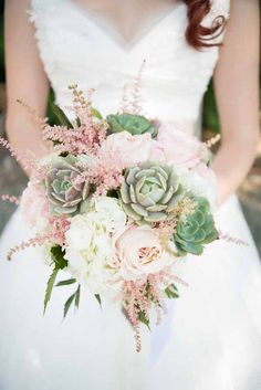 bridal bouquet with succulents, astilbe and roses / http://www.himisspuff.com/succulent-wedding-decor-ideas/16/