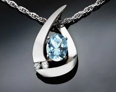 Argentium silver, aquamarine and white sapphire pendant designed by David… Aquamarine Pendant, Aquamarine Necklace, Diamond Pendant, White Sapphire Earrings, Gold Earrings, Gemstone Jewelry, Gold Jewelry, Unique Jewelry, Jewellery