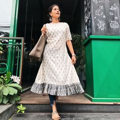 How about some extra ruffles for a coffee ☕️ - Outfit deets : If you are a fan of sustainable fashion, here is a place that you should try… Simple Kurti Designs, Kurti Neck Designs, Kurta Designs Women, Dress Neck Designs, Kurti Designs Party Wear, Designs For Dresses, Kalamkari Dresses, Ikkat Dresses, Frock Models