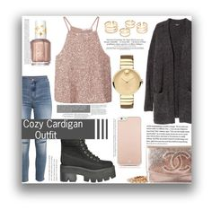 """""""Cozy Cardigan Outfit"""" by isi2502 ❤ liked on Polyvore featuring MANGO, H&M, Chanel, Jeffrey Campbell, Movado, Essie, Kate Spade and cozy"""