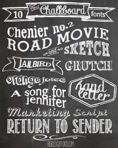 free chalkboard fonts  free printables