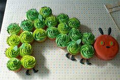 Caterpillar Cupcake Cake~ By Coco Cake Land - Cakes Cupcakes Vancouver BC: The Hungry Caterpillar Cupcake Party Train! Caterpillar Cupcake Cakes, Hungry Caterpillar Cake, Caterpillar Book, First Birthday Cakes, Birthday Party Themes, Birthday Cupcakes, 2nd Birthday, Birthday Ideas, Party Cupcakes